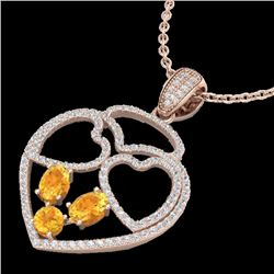 3 CTW Citrine & Micro Pave Designer Inspired Heart Necklace 14K Rose Gold - REF-117T8M - 22537