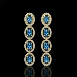 6.28 CTW London Topaz & Diamond Halo Earrings 10K Yellow Gold - REF-104K5W - 40540
