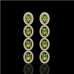 5.88 CTW Tourmaline & Diamond Halo Earrings 10K Yellow Gold - REF-121K3W - 40525