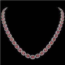 31.1 CTW Tourmaline & Diamond Halo Necklace 10K White Gold - REF-600N2Y - 40418