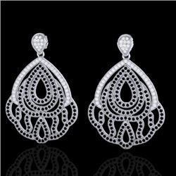3 CTW Micro Pave Black & VS/SI Diamond Earrings Designer 18K White Gold - REF-307A5X - 21145