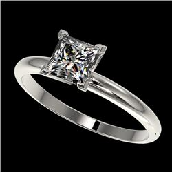 1 CTW Certified VS/SI Quality Princess Diamond Engagement Ring 10K White Gold - REF-297K2W - 32897