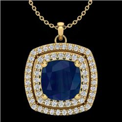 2.52 CTW Sapphire & Micro Pave VS/SI Diamond Halo Necklace 18K Yellow Gold - REF-76M4H - 20464