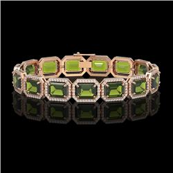 36.51 CTW Tourmaline & Diamond Halo Bracelet 10K Rose Gold - REF-477T3M - 41544