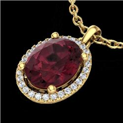 2.50 CTW Garnet & Micro Pave VS/SI Diamond Necklace Halo 18K Yellow Gold - REF-44H9A - 21082