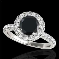 2 CTW Certified VS Black Diamond Solitaire Halo Ring 10K White Gold - REF-87F5N - 33448