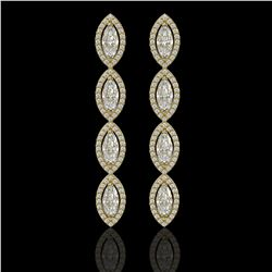 5.33 CTW Marquise Diamond Designer Earrings 18K Yellow Gold - REF-986H2A - 42658