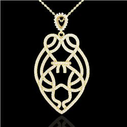 1.80 CTW Micro Pave VS/SI Diamond Heart Necklace Designer 14K Yellow Gold - REF-144H5A - 21260