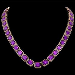 76.69 CTW Amethyst & Diamond Halo Necklace 10K Rose Gold - REF-711M3H - 41514