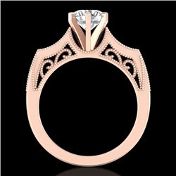 1.25 CTW VS/SI Diamond Solitaire Art Deco Ring 18K Rose Gold - REF-400F2N - 37074