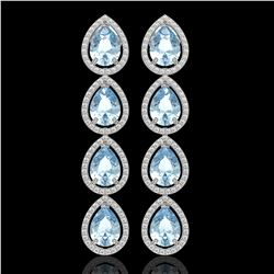 10.56 CTW Aquamarine & Diamond Halo Earrings 10K White Gold - REF-228A8X - 41306