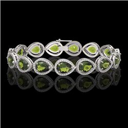 19.7 CTW Tourmaline & Diamond Halo Bracelet 10K White Gold - REF-361W3F - 41255