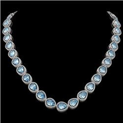 41.6 CTW Sky Topaz & Diamond Halo Necklace 10K White Gold - REF-595K5W - 41216
