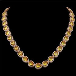36.8 CTW Fancy Citrine & Diamond Halo Necklace 10K Rose Gold - REF-604N2Y - 41229