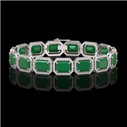 38.61 CTW Emerald & Diamond Halo Bracelet 10K White Gold - REF-456T5M - 41522