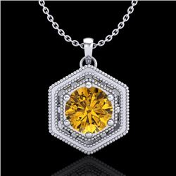 0.76 CTW Intense Fancy Yellow Diamond Art Deco Stud Necklace 18K White Gold - REF-94W5F - 37518