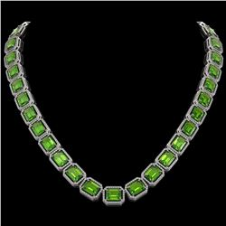 73.41 CTW Peridot & Diamond Halo Necklace 10K White Gold - REF-888Y2K - 41501