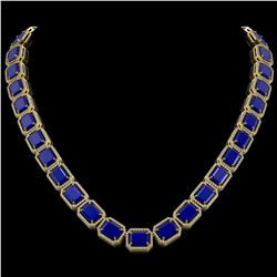 84.94 CTW Sapphire & Diamond Halo Necklace 10K Yellow Gold - REF-859H5A - 41482