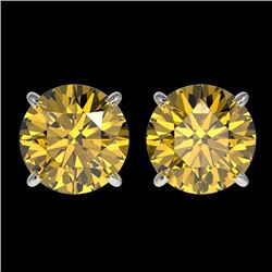 2.57 CTW Certified Intense Yellow SI Diamond Solitaire Stud Earrings 10K White Gold - REF-427T5M - 3