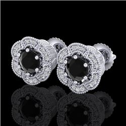 1.51 CTW Fancy Black Diamond Solitaire Art Deco Stud Earrings 18K White Gold - REF-89W3F - 37961