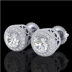 1.55 CTW VS/SI Diamond Solitaire Art Deco Stud Earrings 18K White Gold - REF-259H3A - 36962