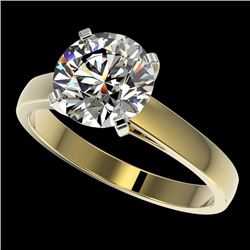 2.55 CTW Certified H-SI/I Quality Diamond Solitaire Engagement Ring 10K Yellow Gold - REF-729H2A - 3