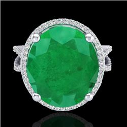 12 CTW Emerald & Micro Pave VS/SI Diamond Halo Ring 18K White Gold - REF-143K6W - 20960