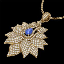 3 CTW Tanzanite & Micro Pave VS/SI Diamond Designer Necklace 18K Yellow Gold - REF-257H3A - 22575
