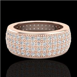 2.50 CTW Micro Pave VS/SI Diamond Eternity Ring 14K Rose Gold - REF-249W3F - 20882