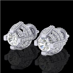 2.75 CTW VS/SI Diamond Micro Pave Stud Earrings 18K White Gold - REF-320Y2K - 36950
