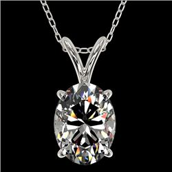 1.25 CTW Certified VS/SI Quality Oval Diamond Solitaire Necklace 10K White Gold - REF-423T3M - 33211
