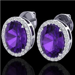 5.50 CTW Amethyst & Micro VS/SI Diamond Halo Earrings 18K White Gold - REF-63H3A - 20237