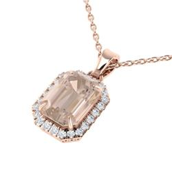 4.50 CTW Morganite And Micro Pave VS/SI Diamond Halo Necklace 14K Rose Gold - REF-83X3T - 21363