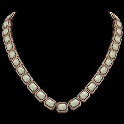 53.59 CTW Opal & Diamond Halo Necklace 10K Rose Gold - REF-816M2H - 41490