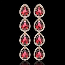 10.48 CTW Tourmaline & Diamond Halo Earrings 10K Rose Gold - REF-211N8Y - 41301