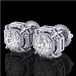 1.11 CTW VS/SI Diamond Solitaire Art Deco Stud Earrings 18K White Gold - REF-218T2M - 36875