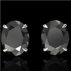 10 CTW Black VS/SI Diamond Designer Solitaire Stud Earrings 18K White Gold - REF-218W5F - 21655