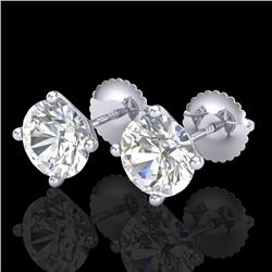 2.5 CTW VS/SI Diamond Solitaire Art Deco Stud Earrings 18K White Gold - REF-668T2M - 37307