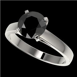 2 CTW Fancy Black VS Diamond Solitaire Engagement Ring 10K White Gold - REF-44K5W - 33032