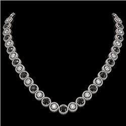 32.10 CTW Black & White Diamond Designer Necklace 18K White Gold - REF-3276H2A - 42605