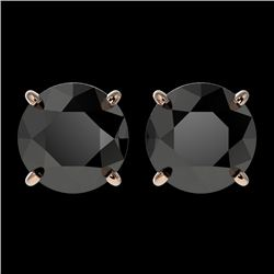2.60 CTW Fancy Black VS Diamond Solitaire Stud Earrings 10K Rose Gold - REF-52N8Y - 36684