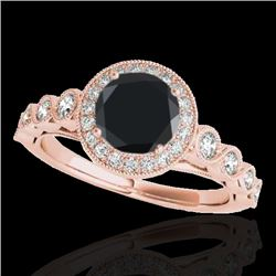 1.5 CTW Certified VS Black Diamond Solitaire Halo Ring 10K Rose Gold - REF-68X2T - 33602