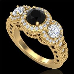 2.16 CTW Fancy Black Diamond Solitaire Art Deco 3 Stone Ring 18K Yellow Gold - REF-254H5A - 37669