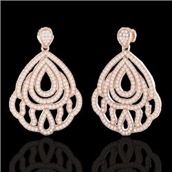 3 CTW Micro Pave VS/SI Diamond Earrings Designer 14K Rose Gold - REF-256X9T - 21146