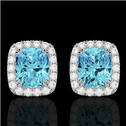2.50 CTW Sky Blue Topaz & Micro VS/SI Diamond Halo Earrings 10K White Gold - REF-41M3H - 22872