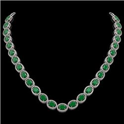 52.15 CTW Emerald & Diamond Halo Necklace 10K White Gold - REF-655K3W - 40553