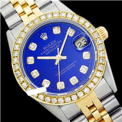 Rolex Ladies Two Tone 14K Gold/ss, Diamond Dial & Diamond Bezel, Sapphire Crystal - REF-434M3F