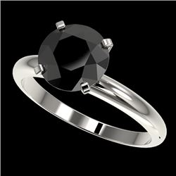 2.50 CTW Fancy Black VS Diamond Solitaire Engagement Ring 10K White Gold - REF-63F3N - 32945