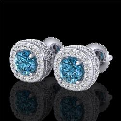 1.69 CTW Fancy Intense Blue Diamond Art Deco Stud Earrings 18K White Gold - REF-176H4A - 37992