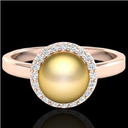 0.25 CTW Micro Pave Halo VS/SI Diamond & Golden Pearl Ring 14K Rose Gold - REF-40A9X - 21630